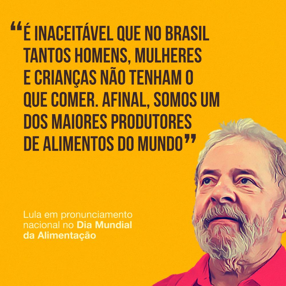 Disponível para baixar: falas do Lula no Dia Mundial da Alimentação